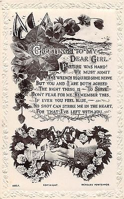POSTCARD  MILITARY WWI  SENTIMENTAL  greetings to MY  Girl