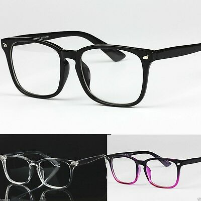 Mens Womens Clear Lens Square Frame Vintage Retro Fashion Geek Glasses