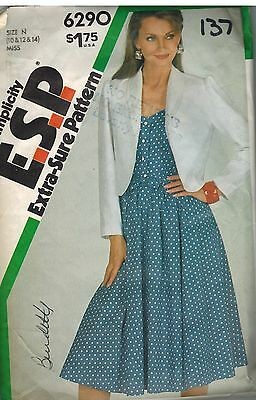 6290 Vintage Simplicity Sewing Pattern Misses Fitted Dress Unlined Jacket Sash