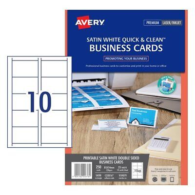 5 x Avery White Quick & Clean™ Colour Laser Business Card Satin 220gsm 959079