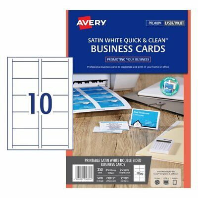 5 x SATIN WHITE Avery Quick & Clean™ Colour Laser Business Card 220gsm 959079