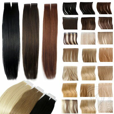Remy Echthaar Tape In On Extensions Haarverlängerung 2,5g Tresse 40cm 45cm 60cm