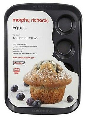Morphy Richards Equip 970508 12 Cup Muffin Tray Non Stick Cake Tray Muffin Pan