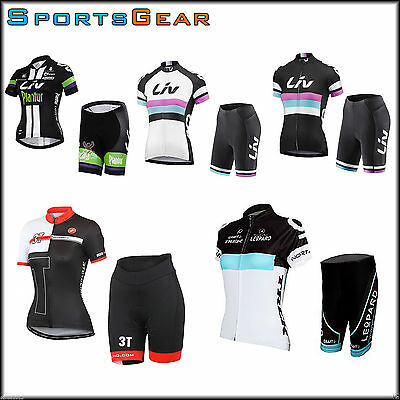 Women Sport Team Bike Cycling Bicycle Short Sleeve Jersey Shorts Set Liv