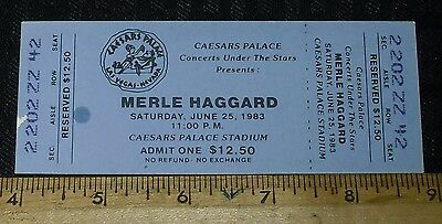 1983 June 25 Merle Haggard Unused Ticket Caesars Palace $12.50 Cost