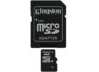 Kingston 4GB 4 GB MicroSDHC Class 10 SDHC Memory Card with SD Adapter SDC10/4GB