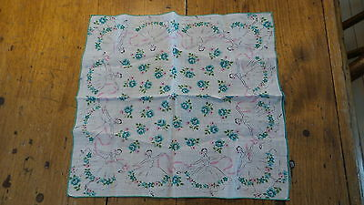 Vintage Novelty Hanky BALLERINAS, PINK RIBBONS, TURQUOISE FLOWERS