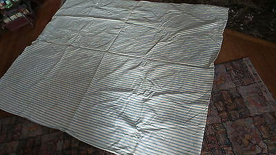 "Antique FEATHER TICK COVER Cover Only BLUE& WHITE STRIPE Used 71""x58"""