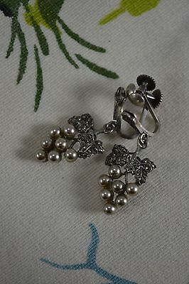 VINTAGE 1940s marcasite pearl sterling silver drop earrings bunch of grapes