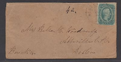 **CSA Cover, SC# 12, New Bern, NC Tied by Black Double Circle CDS