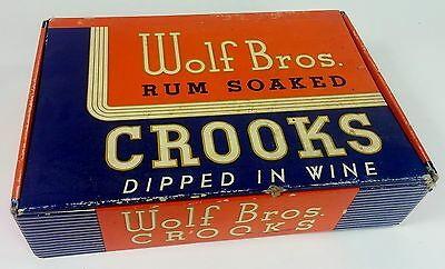"Vintage Wolf Bros Rum Soaked Crooks Cigar Box, ""Dipped in Wine"" 1514 PA"