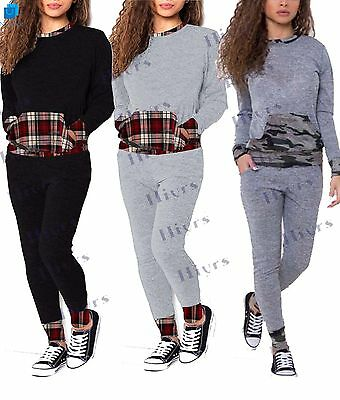 Womens Tracksuit Lounge wear Top Bottoms Camouflage Sweat Jogger girls Gym Set