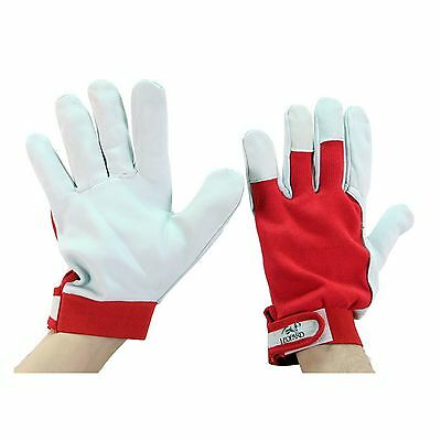 White Leather Drivers Work Gloves Safety Diy Quality Unlined Goat Skin