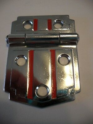 One Vintage Chrome Steel Cabinet Hinge with RED Lines Fits Flush Mounted Door