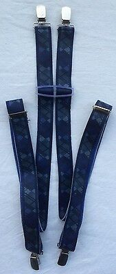 Vintage Clip On Braces Mod Lindy Hop Retro Rockabilly Ska Blue Check