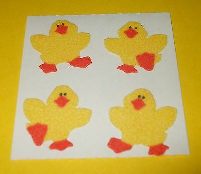 VTG SandyLion FUZZY Baby Chicks Ducks Yellow Duckling Bird Sticker~Easter~80s