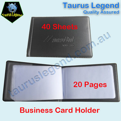 Black Cover Business Name Card Holder Folder Booklet 40 Sheets 20 Pages