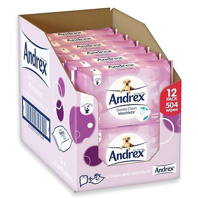 Andrex Gentle Clean Washlets 42 Flushable Toilet Tissue Wipes (Pack of 12)