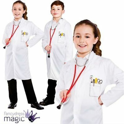 Boys Girls Doctors Scientist White Lab Surgeon Hospital Coat Fancy Dress Costume