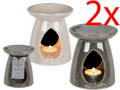 Set Of 2 Ceramic Oil Burner Yankee Candle Tart Wax Melt Aromatherapy Fragrance