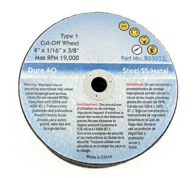 "4"" x 1/16 x 3/8 Type 1 Cut-Off Wheel - 25 Pcs"