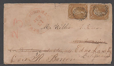 **US 19th Century Cover Scott # 67 Pair, Rare on Cover (See PF Cert)