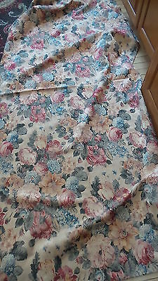 Single DRAPERY CURTAIN PANEL Blue,Rust,Gold Floral Damask on Beige 90x44