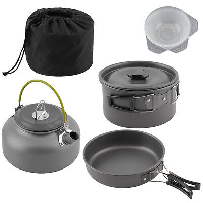 Portable Camping Anodised Aluminium Cookware Outdoor Pots Pans Kettle Kitchen HT