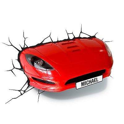 Red Sports Car 3D Effect Light Lamp New Bedroom Decor
