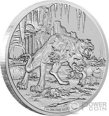 CERBERUS Creatures of Greek Mythology 1 Oz Silver Coin 2$ Niue 2015