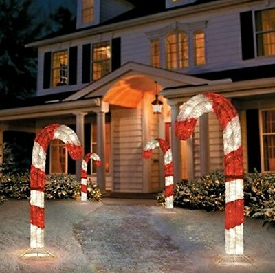 4' Lighted 3D Tinsel Candy Cane Outdoor Holiday Christmas Decoration (SET OF 2)