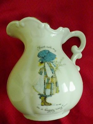 Holly Hobbie Start Each Day In A Happy Way Porcelain Pitcher w/Gold Trim 1973