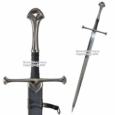 """46"""" Long Two Handed Knights Battle Long Sword w/ Scabbard Medieval  Costume LARP"""