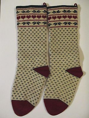 2 Knit Christmas Stockings Red Green Cream 100% Wool 24 in Long