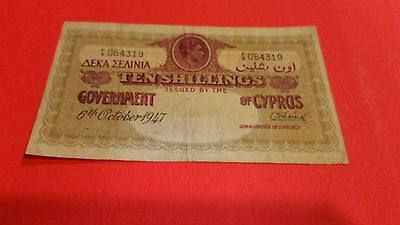 cyprus  10 shillings 1947 VF rare  nice for this note. no holes.