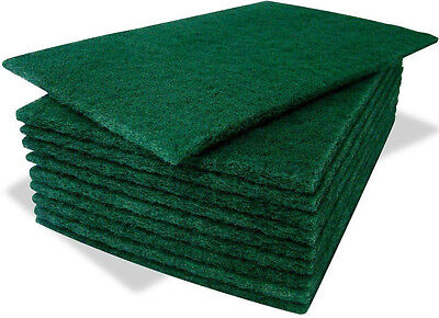 Green Pack Of 8 Professional Kitchen Catering Sponge Scourer Pads Cleaning