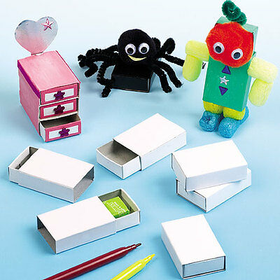 White Craft Matchboxes for Kid's Craft & Modelling Activities (Pack of 30)