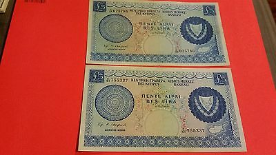 2 cyprus notes  5 pounds 1967 1969