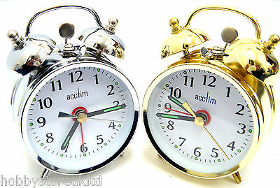 Acctim Saxon Double Bell Alarm Clock Wind Up Alarm Clock Keywound Beside Clock S