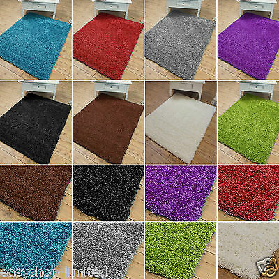 Modern Thick Plain Soft Shaggy Rug Non Shed Pile Size Small Large Carpet Rugs