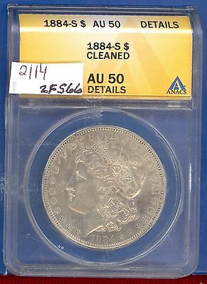 1884  S  Morgan Silver  Dollar Coin #2114 $ Au 50  $ Us Mint$ Rare Key Date