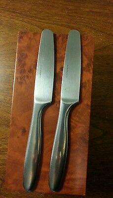 2 Vintage 70's LAUFFER Finland DESIGN 9 Flatware MODERNIST DINNER KNIVES