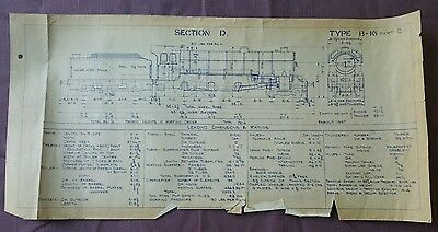 BR era Technical Drawing, Class B-16 Locomotive, Section D, 49 by 24cm