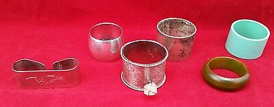 Job lot of 6 assorted napkin rings including 3 silver plated