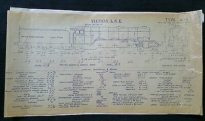 BR Technical Drawing, Class A-1 Locomotive, LNE Section, 49 by 24cm