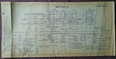 BR era Technical Drawing, Type D36 Built 1894 Locomotive, Section B, 49 by 24cm