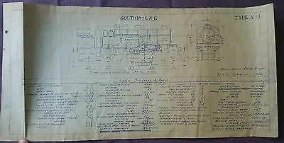 BR era Technical Drawing, Class V-1 Locomotive, LNE Section, 49 by 24cm