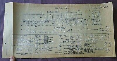 BR era Technical Drawing, Class C-5 Locomotive, Section C, 49 by 24cm