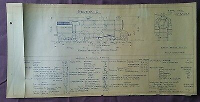 BR era Technical Drawing, Type H2 A-1 Locomotive, Section C, 49 by 24cm
