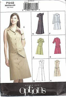 19bfc9f1518c UNCUT Vogue Sewing Pattern Misses Semi Fitted A Line Dress Button Up Easy  P948 8